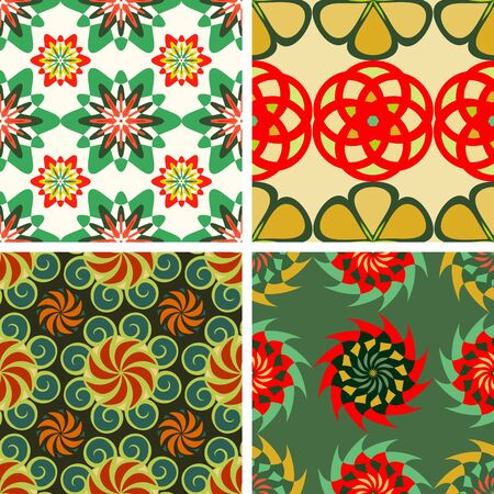 Set of colorful seamless patterns from abstract fantastic flowers