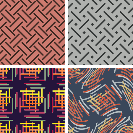 rounded edges: A set of abstract seamless pattern of intersecting lines strips with rounded edges