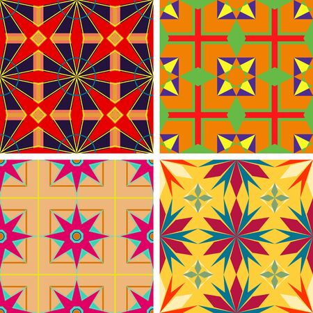 Set of seamless patterns of geometric shapes on a plain background