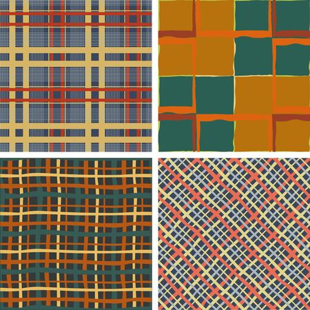 Set of seamless pattern of intersecting lines of different thickness
