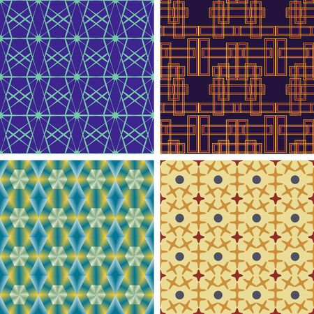 Set of seamless symmetric linear geometric patterns on plain background