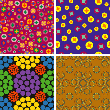 chaotic: Set of colorful seamless backgrounds with chaotic colored circles