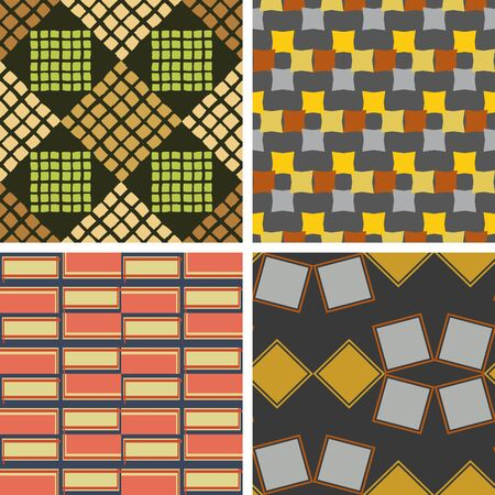 Set of seamless patterns of colored squares of irregular shape 向量圖像