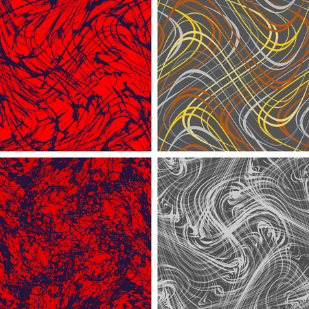 Set of seamless backgrounds of abstract chaotic curves structures Ilustração