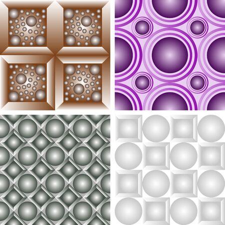 Set of seamless patterns of colored squares with balls Ilustração