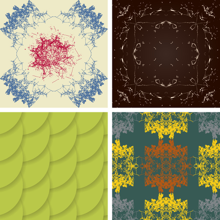 symmetrical: Set of seamless abstract patterns of chaotic symmetrical curves