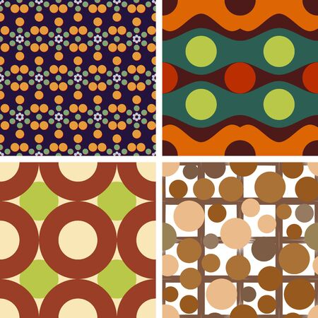 monophonic: A set of colorful seamless patterns with circles on a monophonic background