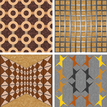 Set of seamless graphic patterns of stripes and circles on the basis of texture background Иллюстрация