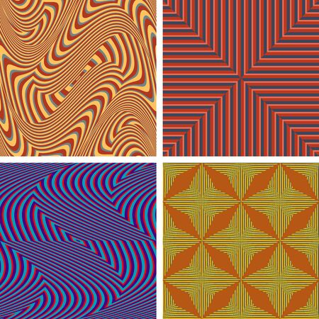 Set of seamless patterns of colored curved fringes