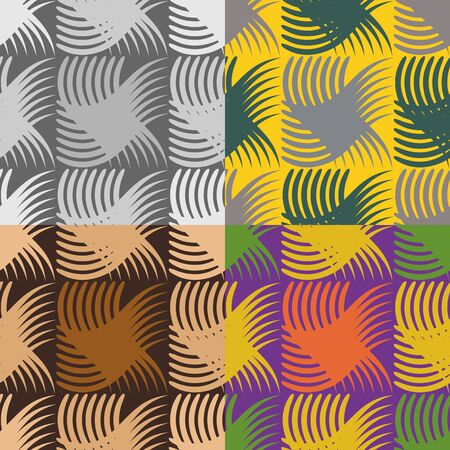 textiles: Set of four different colored vector seamless pattern of abstract shapes