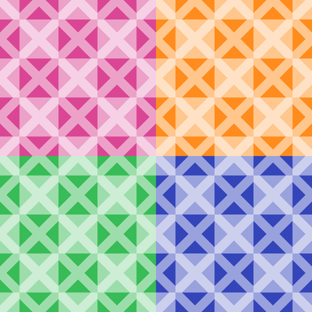 Four homogeneous vector seamless geometrical patterns