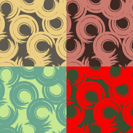 Four colored vector seamless patterns with abstract circles imitation brush