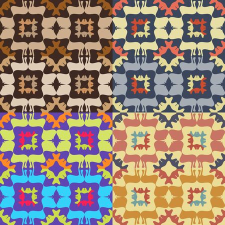 추상 대칭 인물과 4 개의 컬러 벡터 원활한 패턴