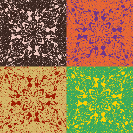 Set of vector seamless abstract patterns in four different colors