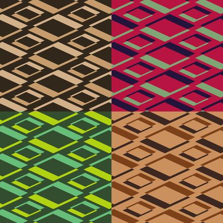 homogeneous: Four homogeneous vector seamless geometrical patterns