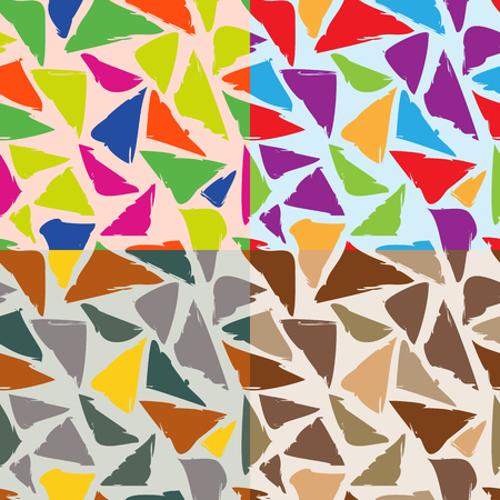 Set of seamless geometrical patterns of distorted triangles in different colors Ilustração