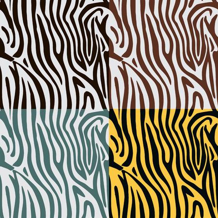 커브와 원활한 형상 패턴 줄무늬 4 개의 색상 변형에서 스타일 얼룩말