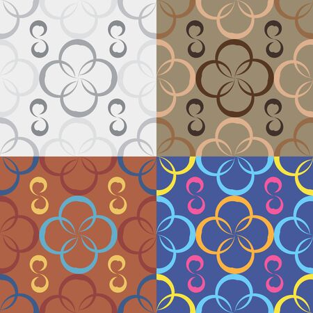Seamless geometric pattern with irregular circles in four colors 向量圖像