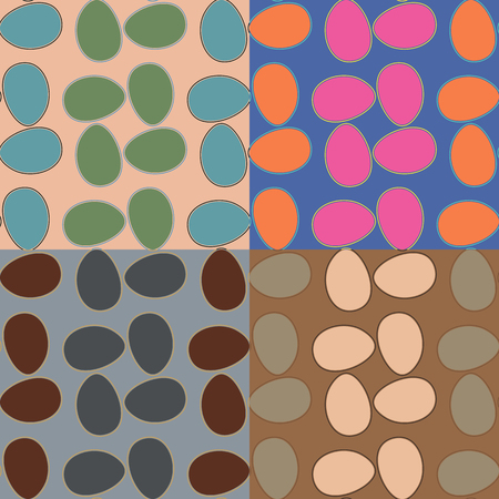 ovals: Seamless geometric pattern with irregular ovals in four color variants