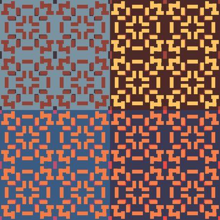 네 가지 색상 변형에 직사각형이있는 완벽한 대칭 기하학 패턴