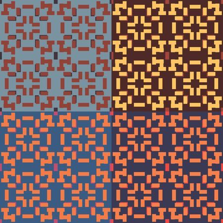 Seamless symmetric geometric pattern with rectangles in four color variants