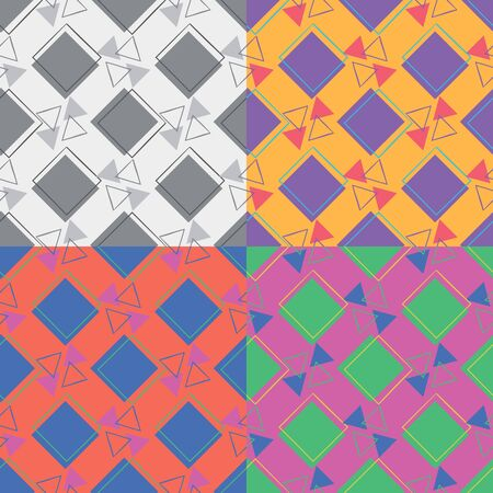 variants: Seamless symmetric geometric pattern with rectangles in four color variants