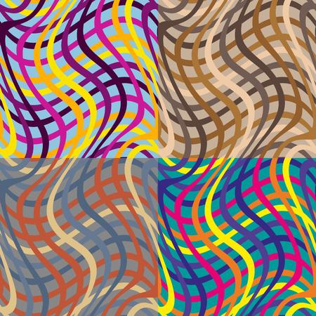 Set of seamless pattern of colored strips Çizim