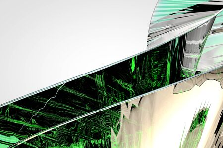 Abstract green glass background 3d rendering of computer visualization Imagens