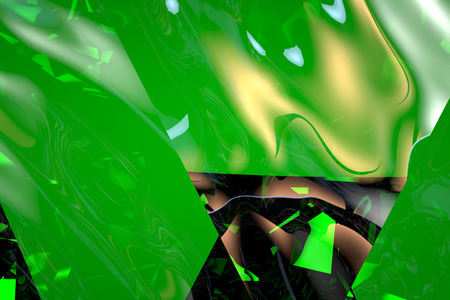 screen savers: Abstract green glass background 3d rendering of computer visualization Stock Photo