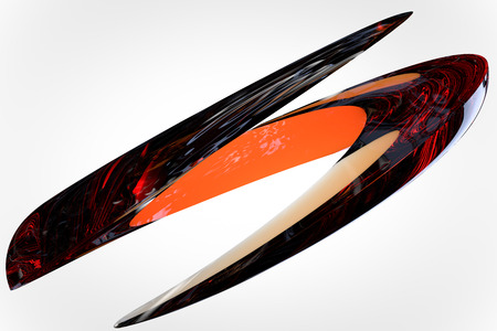 high size: Abstract  in the form of fragmentation rings with lacquered surface and sharp edges, 3D render high resolution