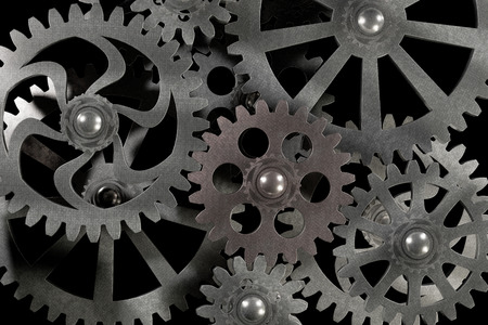 Part of the mechanism with a gear gears made of metal is silver, 3d rendering, computer visualization