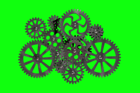 Part of the mechanism with a gear gears made of metal is silver on a green background, 3d rendering