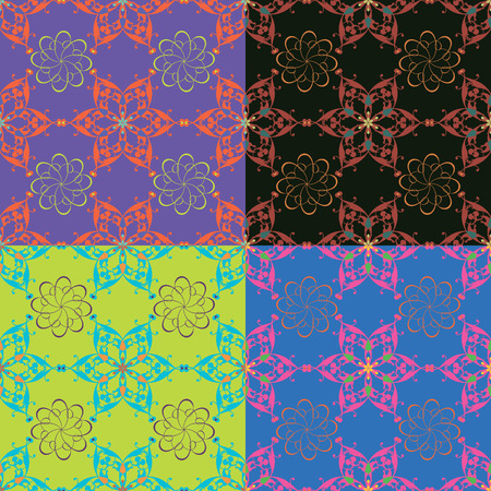 Set of seamless vector patterns in different colors with classical elements