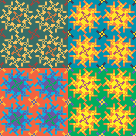 Set of seamless vector geometric patterns in different color styles