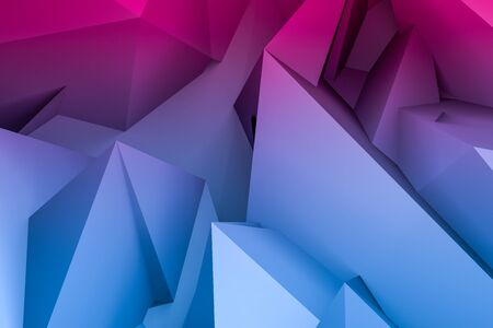 Abstract 3d geometric background in blue and red colors, computer rendering