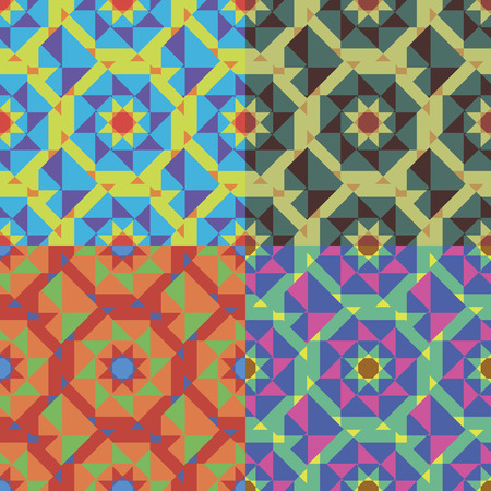 diagonally: Set of geometric abstract seamless patterns in four colors Illustration
