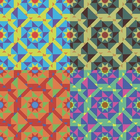 Set van geometrische abstracte naadloze patronen in vier kleuren Stock Illustratie