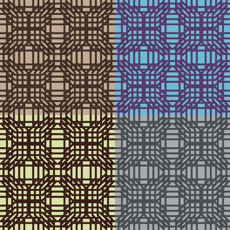Set of geometric abstract seamless patterns in four colors Иллюстрация