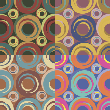 Set of four seamless abstract patterns in different color solutions with irregular circles