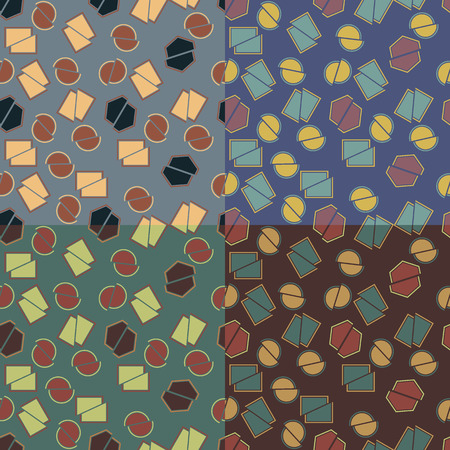 Set of four seamless abstract patterns in different color solutions with cut geometric shapes Illustration
