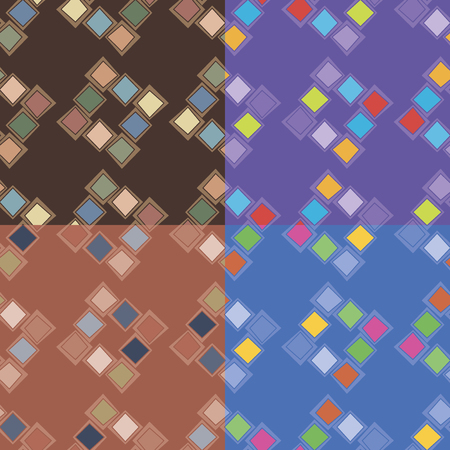 Set of four seamless abstract patterns in different color solutions with irregular squares