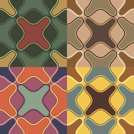 Set of four seamless abstract patterns in different color solutions with irregular geometric shapes Illustration