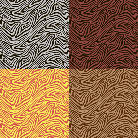 Seamless vector backgrounds from patterns in four different color schemes imitating a drawing of a skin of a zebra