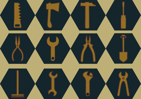 Abstract vectorial image of working tools in a hexagon - icons for website design