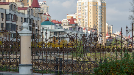 Autumn city landscape in the modern development of the new district Stock Photo