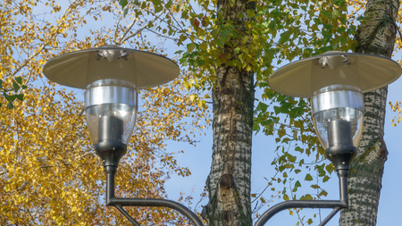 City park lamp against a background of yellow leaves of autumn trees