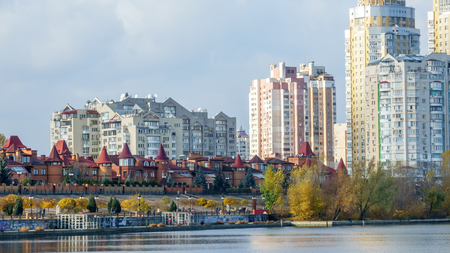 Quay of the Dnieper Bay in Kiev in the Obolon area, autumn city landscape Reklamní fotografie