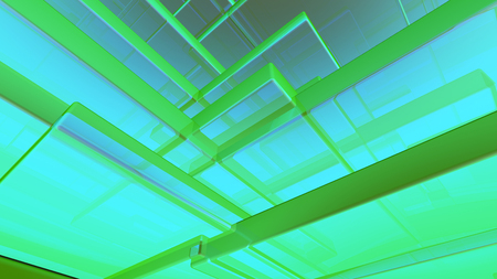 Abstract blue and green highlights, 3D computer rendering a brilliant generation of glass surface