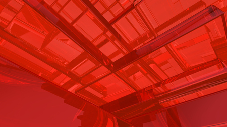 Abstract red highlights, 3D computer rendering a brilliant generation of glass surface Stock Photo