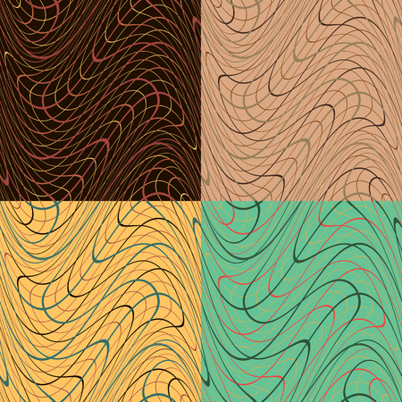 Set of four seamless geometric patterns with chaotic repeating curved lines Illustration